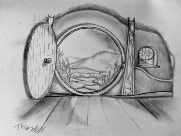 Bilbo baggins and jesus unexpected adventures that change themand hobbit open door drawing altavistaventures Gallery