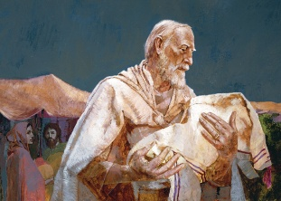 Abraham holding baby Isaac