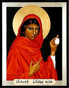 Mary Magdalene icon with red egg