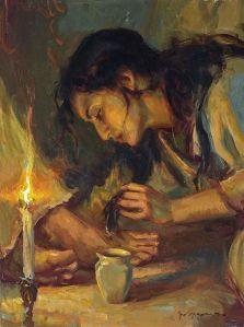 Mary of Bethany anoints Jesus feet